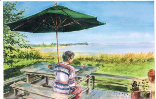 my sister Jane in Nova Scotia - watercolor by Neil Jampolis